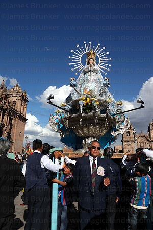 Virgin of the Immaculate Conception during parades for Corpus Christi festival , Plaza de Armas , Cusco , Peru