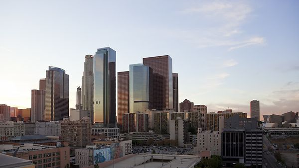 Wide Shot: Sun Down & Lights On, Downtown L.A.