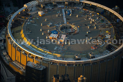 Close up aerial view of Madison Square Garden, a famous arena in midtown Manhattan in New York City