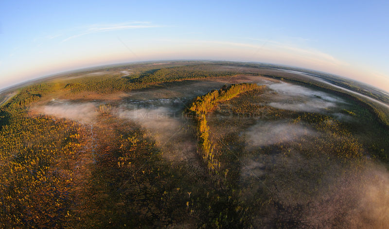 Aerial fish-eye view of a foggy bog with mineral islands at sunrise, Alam-Pedja Nature Reserve, Tartumaa, Estonia, March 2013.