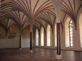 Grand Refectory, castle of the Teutonic Order in Malbork , Poland