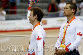 Mixed Individual Pursuit B  Podium. Track Day 1, Toronto 2015 Parapan Am Games, Milton Pan Am/Parapan Am Velodrome, Milton, On; August 10, 2015