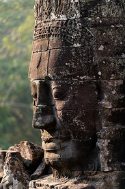Face carvings at Bayon Temple, Angkor Thom in Siem Reap, Cambodia.