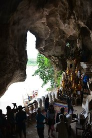 Inside Tham Ting (lower cave) looking out