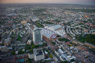 Aerial view of Earls Court at dusk, London