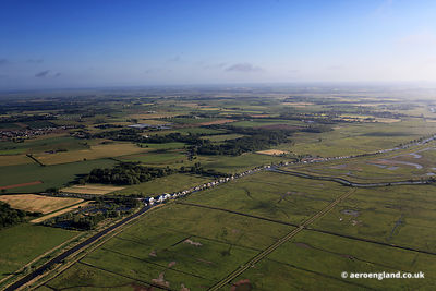 aerial photograph of the River Thurne and  Candle Dyke at Martham, Norfolk