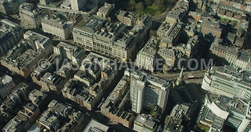 London Aerial Footage of Regent Street from Langham Place to Piccadilly Circus