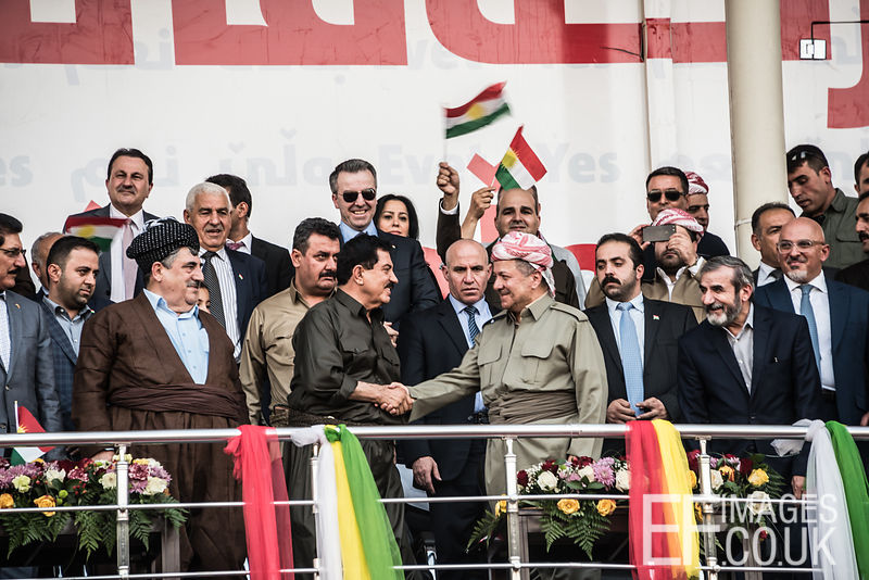 Iraqi Kurdistan President Barzani shakes hands with dignitaries at the final Kurdish independence referendum rally, held at the Franso Hariri Stadium in Erbil. 22nd September 2017. Elizabeth Fitt
