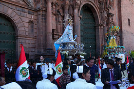 Figures of Virgen of the Immaculate Conception (centre) and Belen outside cathedral , Corpus Christi festival , Plaza de Armas , Cusco , Peru