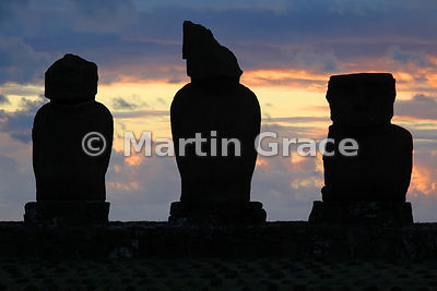 Three of the five Vai Uri (Dark Water) moai at sunset, Tahai complex, Easter Island