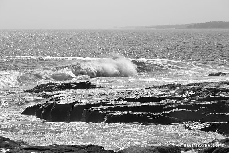 ATLANTIC OCEAN CAPE NEDDICK MAINE ROCKY COAST BLACK AND WHITE SEA LANDSCAPE