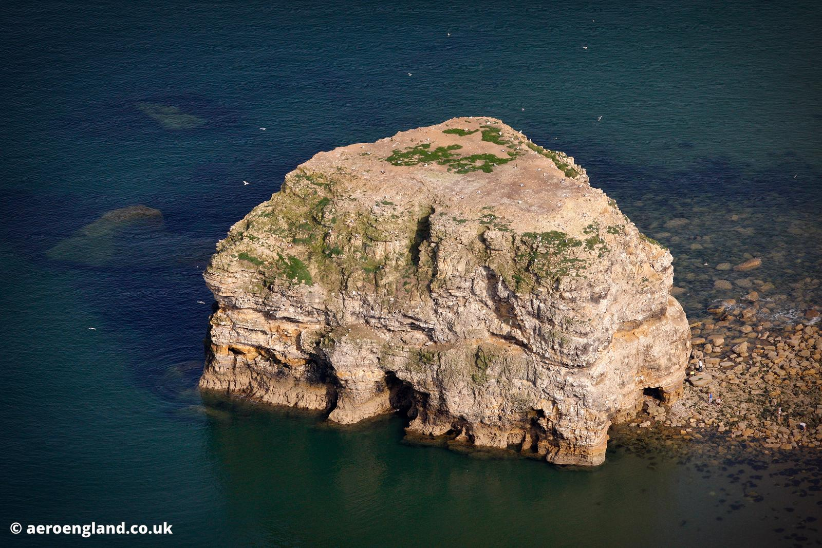 aerial photograph of Marsden Rock  in Tyne & Wear UK