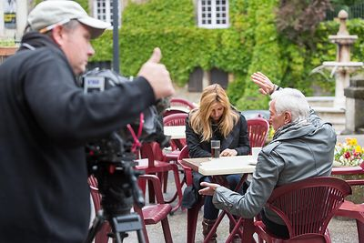 "Mathilde SEIGNER - FR3 shooting ""Emmenez Moi"" with Laurent BOYER"