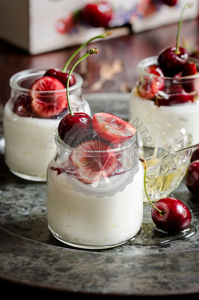 Cherries with yogurt