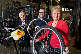 Bike Station, High Street, Perth.22.11.17..Scotland's Zero Waste Towns -.Environment Secretary Roseanna Cunningham visits the Bike Station in Perth along with Iain Gulland, Chief Executive of Zero Waste Scotland (glasses, beard) and John Summers, Chairman Beautiful Perth (jacket, open necked shirt). Also present was Mark Sinclair, Manager of Bike Station (black top with orange trim)...More info from:  .Harriet Brace | PR Officer | Zero Waste Scotland .Direct 01786 237342 | Mobile 07816 226323 | Reception 01786 433930 .Email: Harriet.Brace@zerowastescotland.org.uk...Pictures Copyright: Iain McLean.79 Earlspark Avenue.G43 2HE.07901 604 365.www.iainmclean.com.photomclean@googlemail.com.07901 604 365.ALL RIGHTS RESERVED.