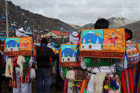 Kapac Qolla dancers with bead embroidered square hats (called an aqarapi) during Qoyllur Riti festival, Peru