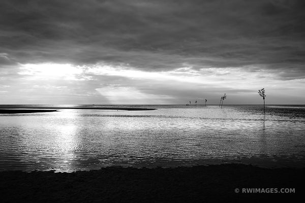 TIDE COMING IN ROCK HARBOR ORLEANS CAPE COD BLACK AND WHITE