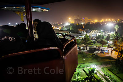 Aerial view of the Science City educational center at night from a gondola, Kolkata, India.