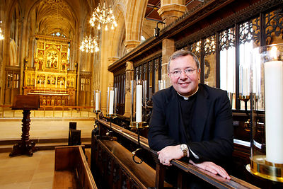 Refurbishment of Wakefield Cathedral now complete. Pictured is Very Revd Jonathan Greener.