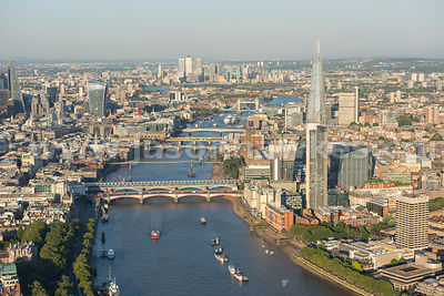 View looking east along the River Thames towards the Shard