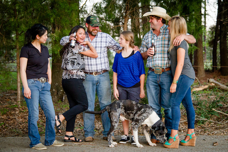 Scott Thurman, rancher and concrete finisher, with his family in Frankston, Texas