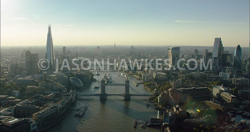 London Aerial Footage towards Tower Bridge and London Bridge from the East.