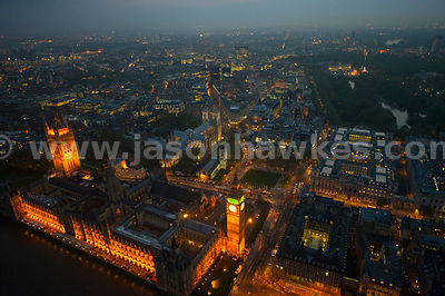 Aerial view over The Houses of Parliament, London