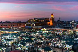 A night scene at the square of Jemaa-el Fnaa in Marrakesh, Morocco