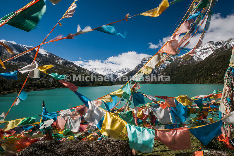 At the foot of Chola (Trola Mountain range), 12km west of Manigongo is Yilung Latsho lake. Sacred to the Tibetans, note many prayer flags and mani stones