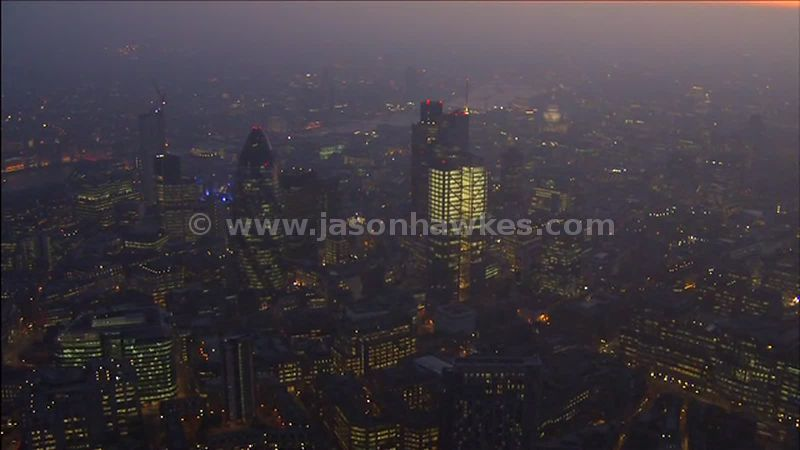 Aerial footage around the City of London and St Paul's at night, London, England, UK