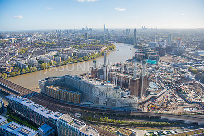 Aerial view of Circus West, Battersea Power Station and Nine Elms, London.