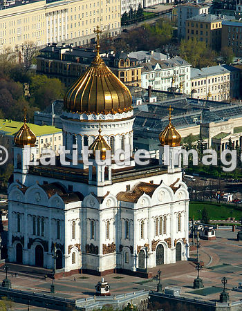Russia, Moscow. The Cathedral of Christ the Saviour.