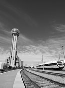 DART light rail train and Reunion Tower (Black and white)