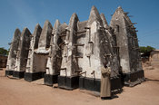 Ancient west-Sudanese style, mud-and-stick mosque, Bole, Ghana