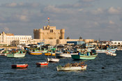 Qaitbay Fort on the island of Pharos on the Mediterranean coast, Alexandria, Egypt