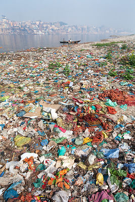 Garbage in the Ganges River in Varanasi, India. This is one of the most revered stretches of India's holiest river.