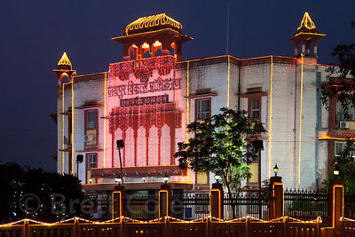 Illuminated building during the Diwali festival in Jaipur, Rajasthan, India