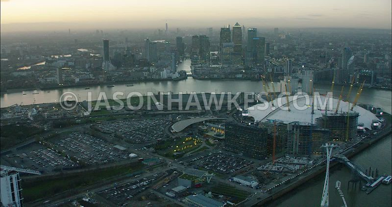 London Aerial Footage O2 Arena and Docklands.