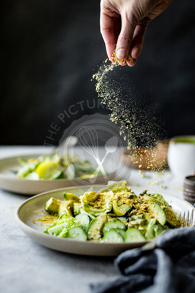 Healthy vegan green salad