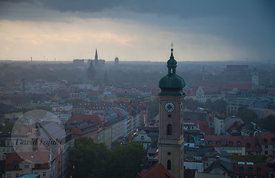 Stormy afternoon over Munich (view from Church of St. Peter's belltower)