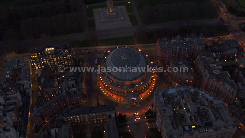 Aerial footage of the Royal Albert Hall at night, London