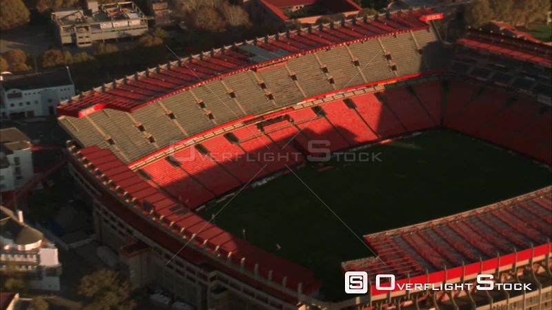 Aerial zoom out of Ellis Park Stadium. Johannesburg Gauteng South Africa
