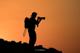 Silhouette of Photographer during sunset in Morocco