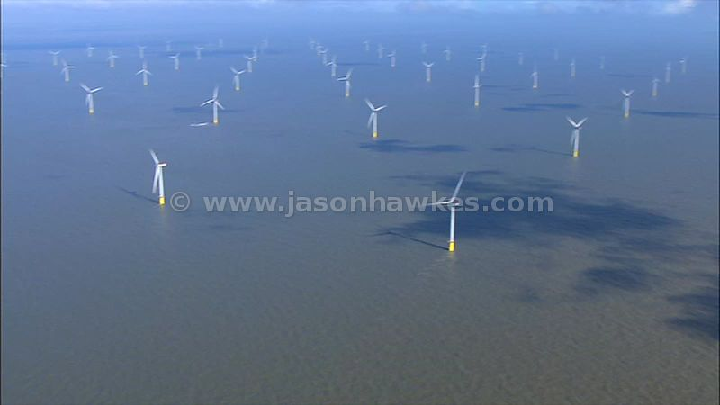 Aerial footage of wind turbines, offshore wind farm