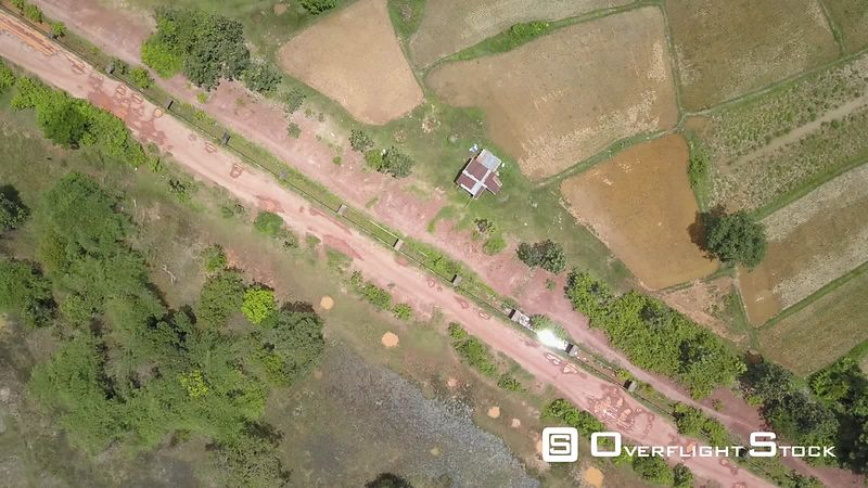 Aerial view of Road in Village Champassak , filmed by drone, Laos