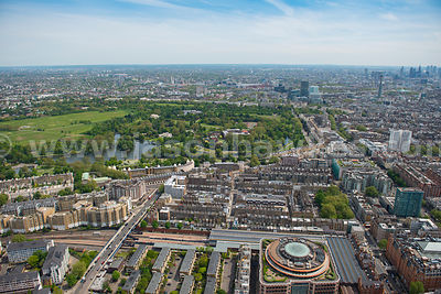 Aerial view of Regent's Park and Marylebone Station, London