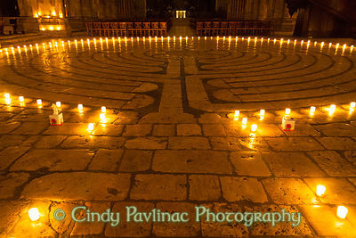 Entrance to Candlelit Chartres Cathedral Labyrinth