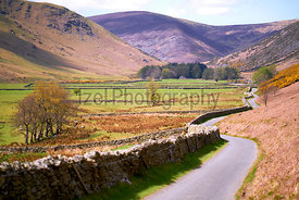 A quiet country lane near Mosedale, Caldbeck Fells in the English Lake District, UK.