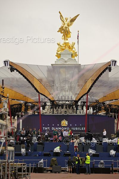 Preparations on Stage for the Buckingham Palace Concert
