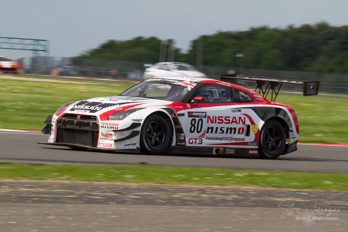 Olympic cycling gold medallist Sir Chris Hoy's Nissan GT Academy Team RJN GT-R GT3, in action at the Silverstone 500 - the third round of the British GT Championship 2014 - 1st June 2014